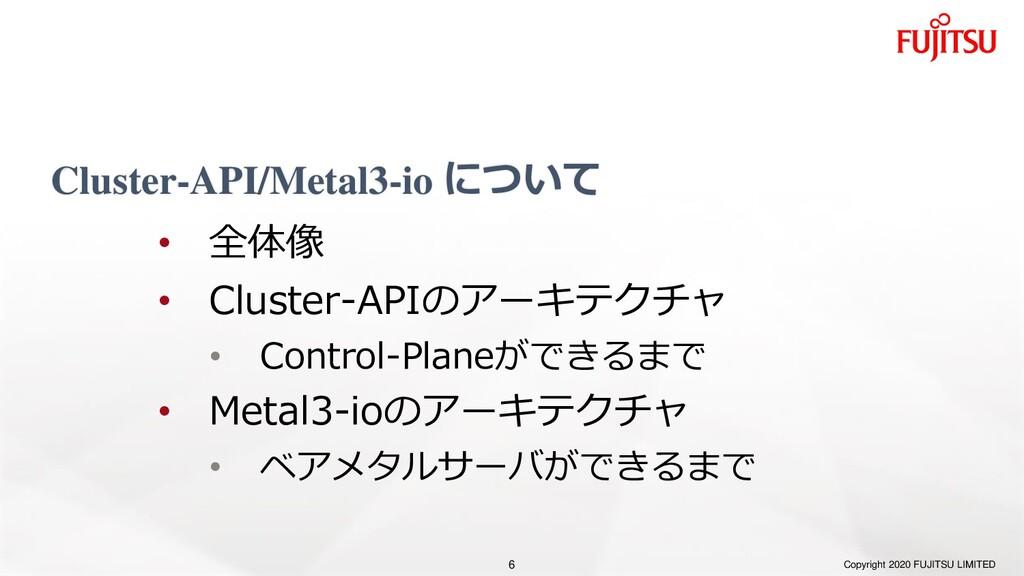 Cluster-API/Metal3-io について Copyright 2020 FUJIT...
