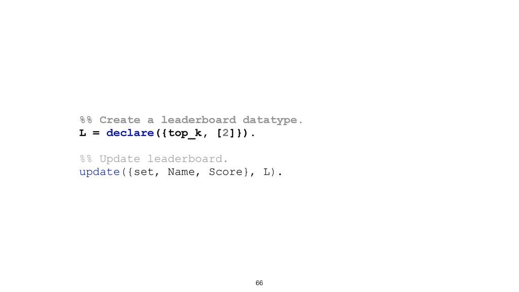 66 %% Create a leaderboard datatype. L = declar...
