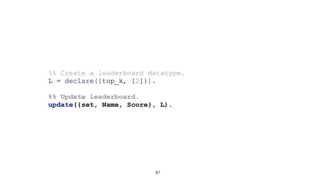 67 %% Create a leaderboard datatype. L = declar...