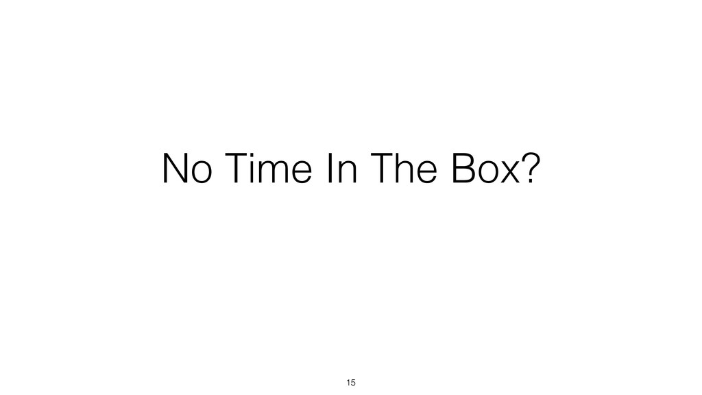 No Time In The Box? 15