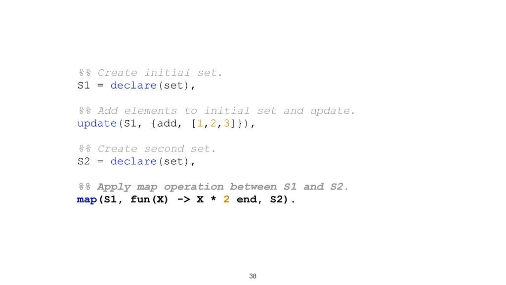 38 %% Create initial set. S1 = declare(set), %%...