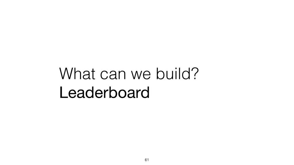 What can we build? Leaderboard 61