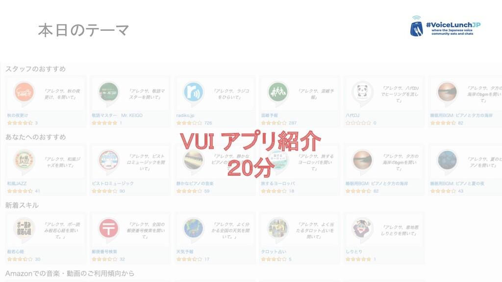 本日のテーマ VUI アプリ紹介 20分
