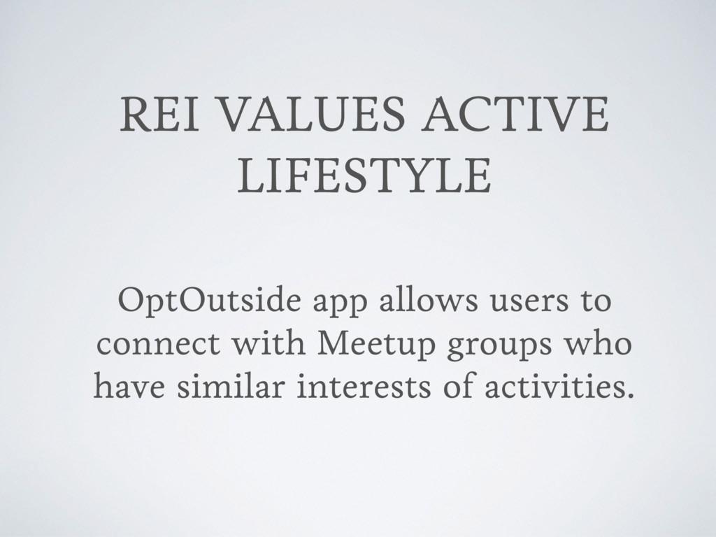 REI VALUES ACTIVE LIFESTYLE OptOutside app allo...