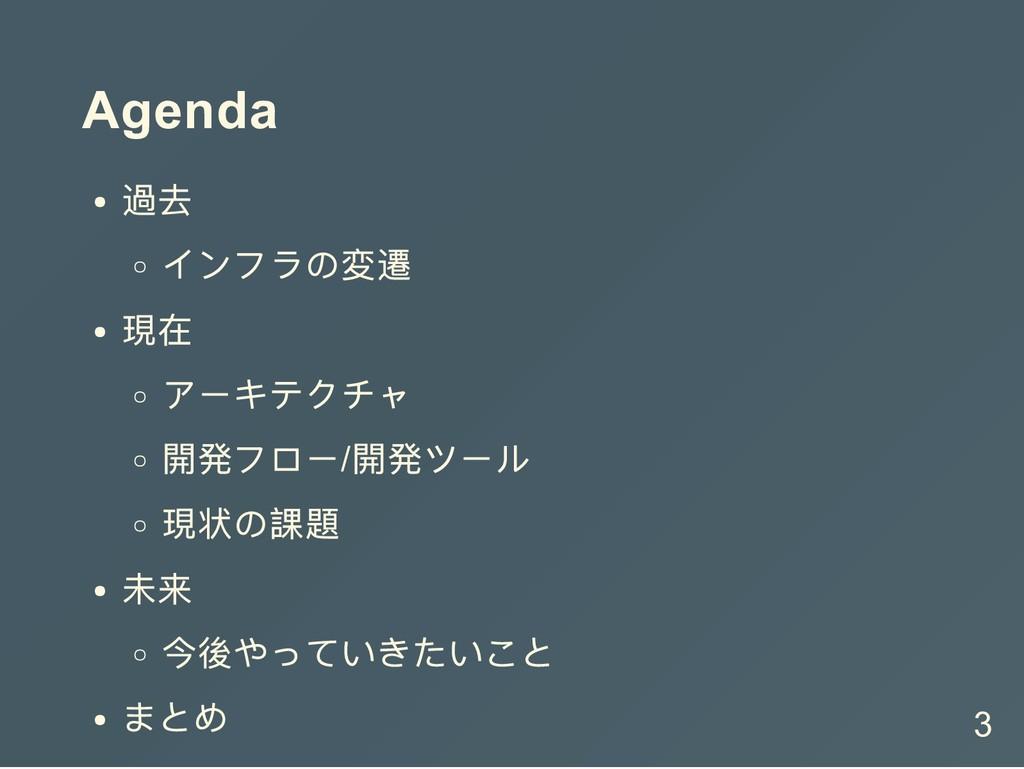 Agenda 過去 インフラの変遷 現在 アーキテクチャ 開発フロー/ 開発ツール 現状の課題...