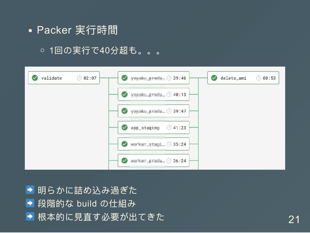 Packer 実行時間 1 回の実行で40 分超も。。。 明らかに詰め込み過ぎた 段階的な b...