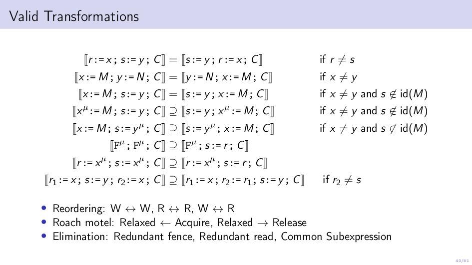 40/61 Valid Transformations r:= x; s:= y; C = s...