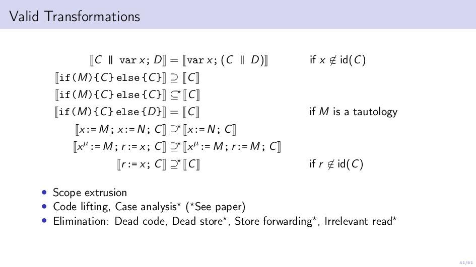 41/61 Valid Transformations C | | var x; D = va...