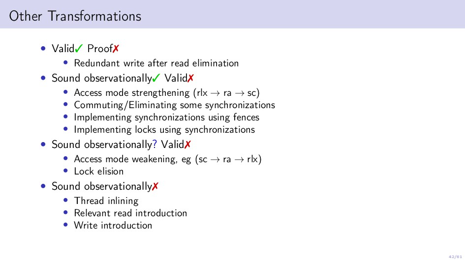 42/61 Other Transformations • Valid Proof • R...