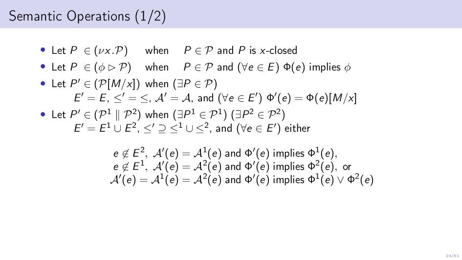 24/61 Semantic Operations (1/2) • Let P ∈ (νx.P...
