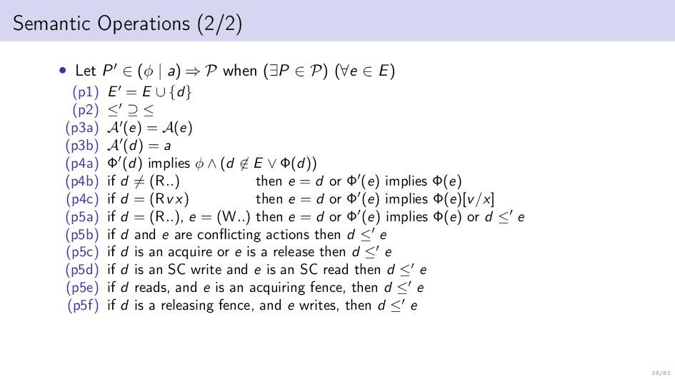 25/61 Semantic Operations (2/2) • Let P ∈ (φ | ...