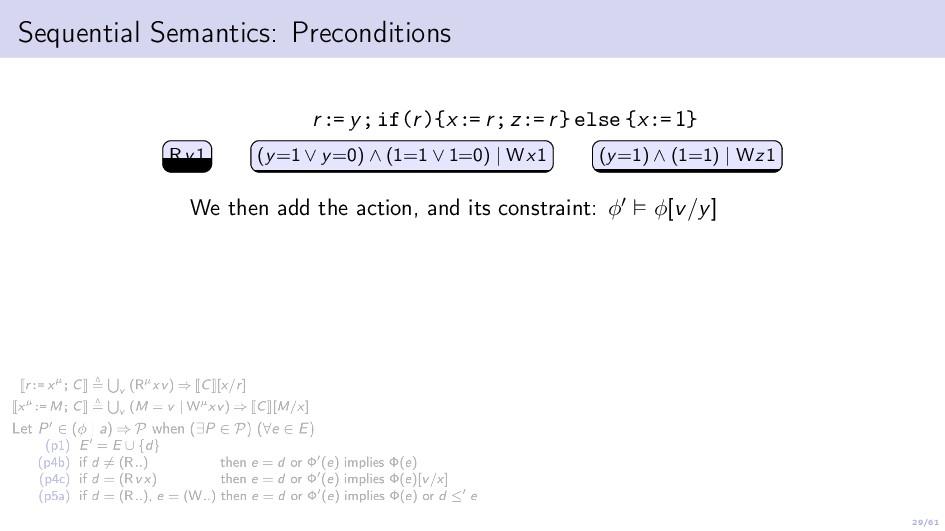 29/61 Sequential Semantics: Preconditions r:= y...