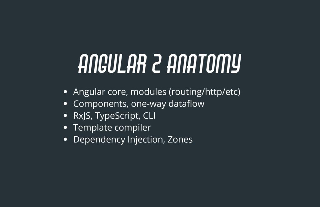 ANGULAR 2 ANATOMY Angular core, modules (routin...