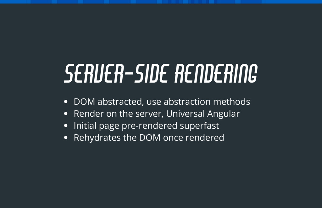 DOM abstracted, use abstraction methods Render ...