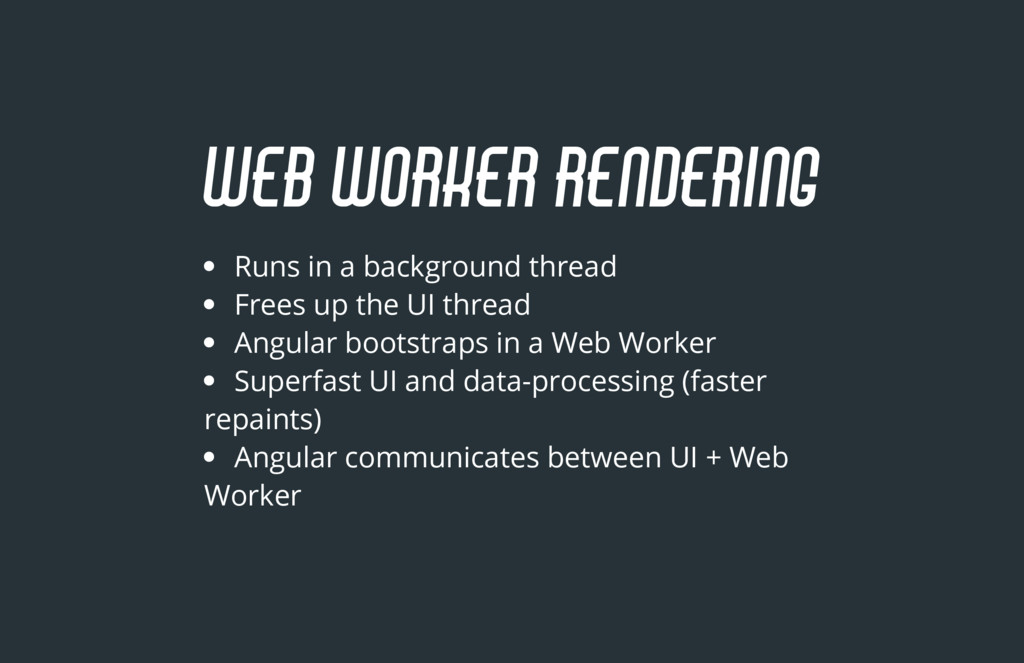 Runs in a background thread Frees up the UI thr...