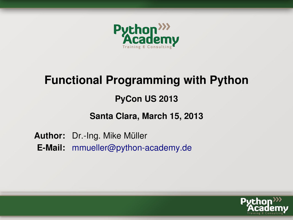 Functional Programming with Python PyCon US 201...