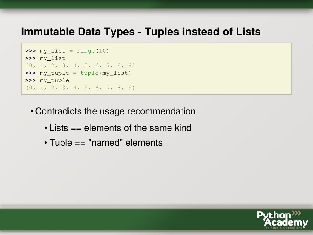 Immutable Data Types - Tuples instead of Lists ...
