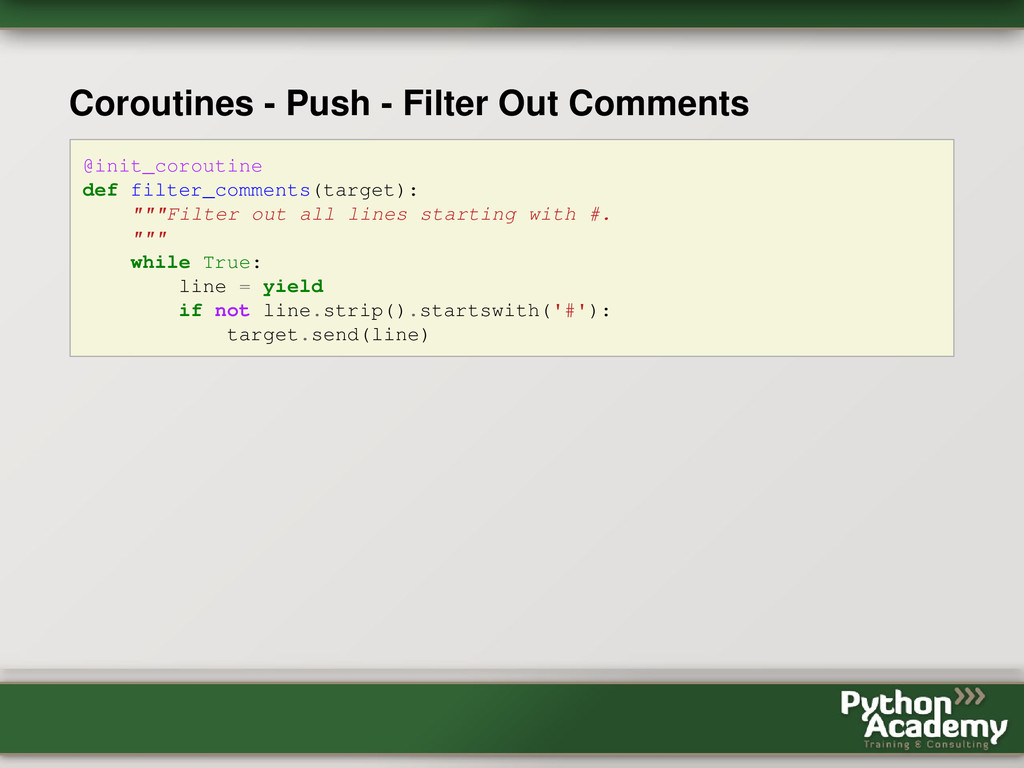 Coroutines - Push - Filter Out Comments @init_c...