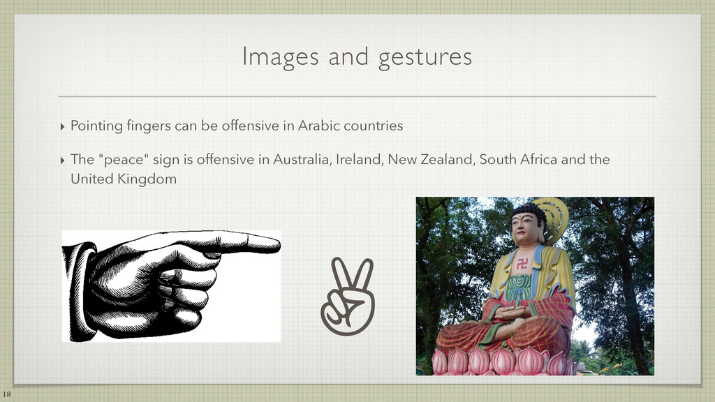 Images and gestures ‣ Pointing fingers can be of...