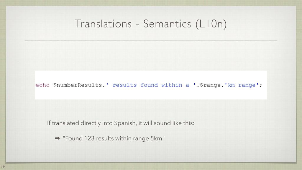 Translations - Semantics (L10n) 19 echo $number...