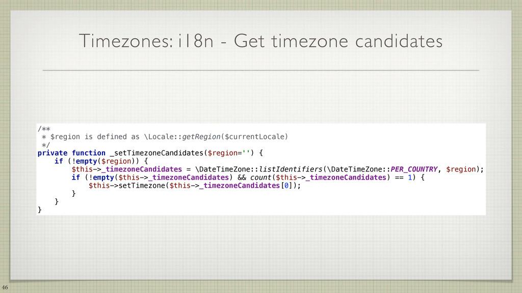 Timezones: i18n - Get timezone candidates 46 /*...