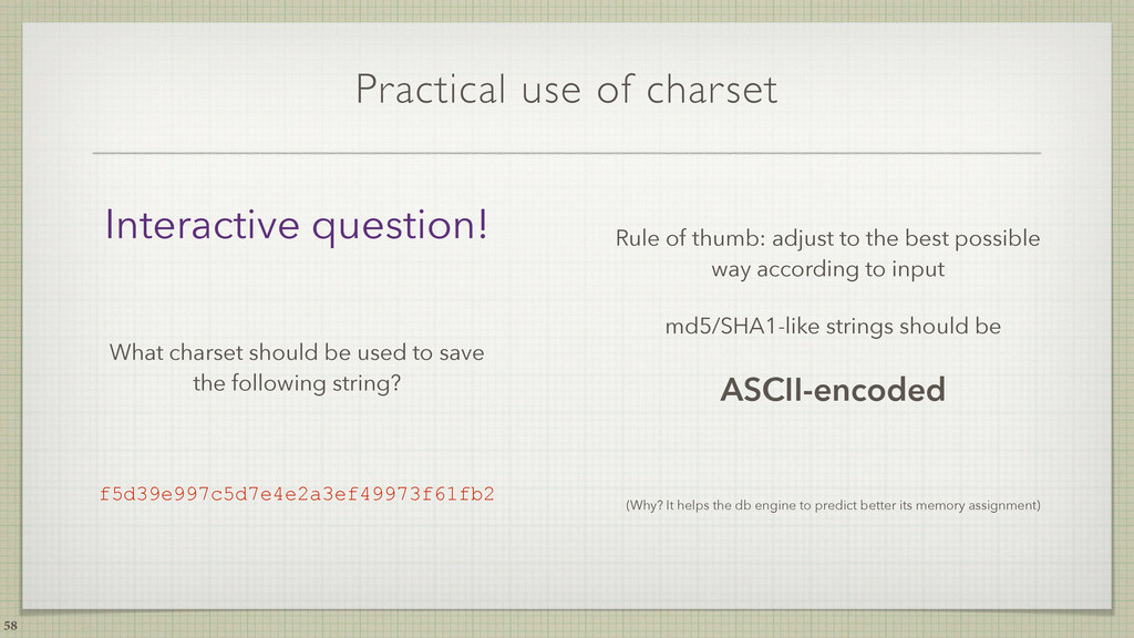 Practical use of charset Rule of thumb: adjust ...