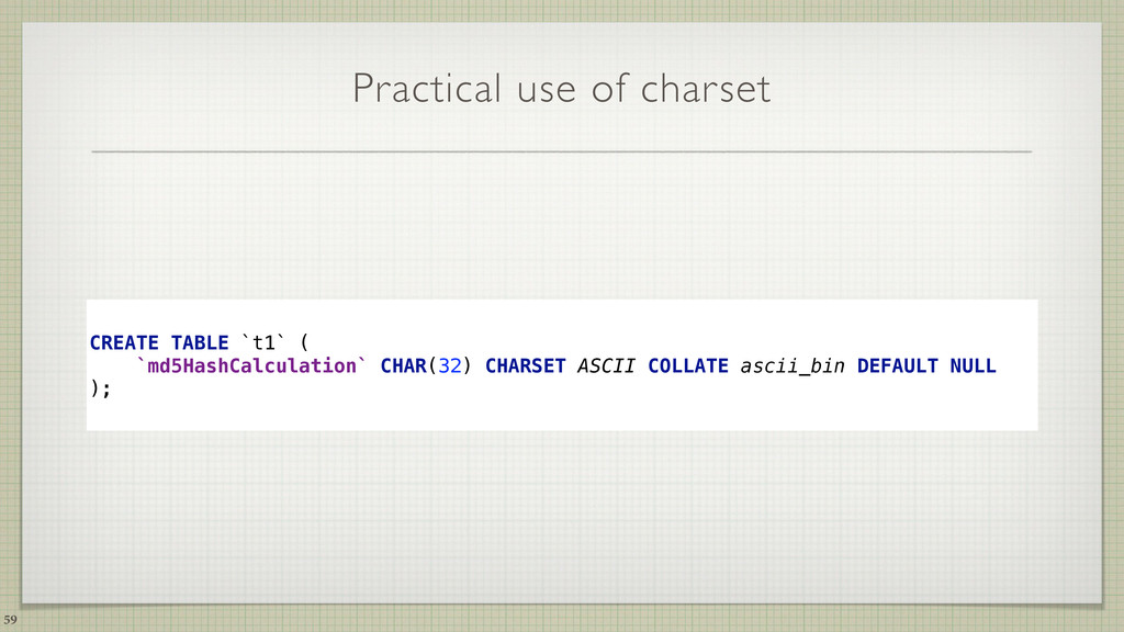 Practical use of charset CREATE TABLE `t1` (