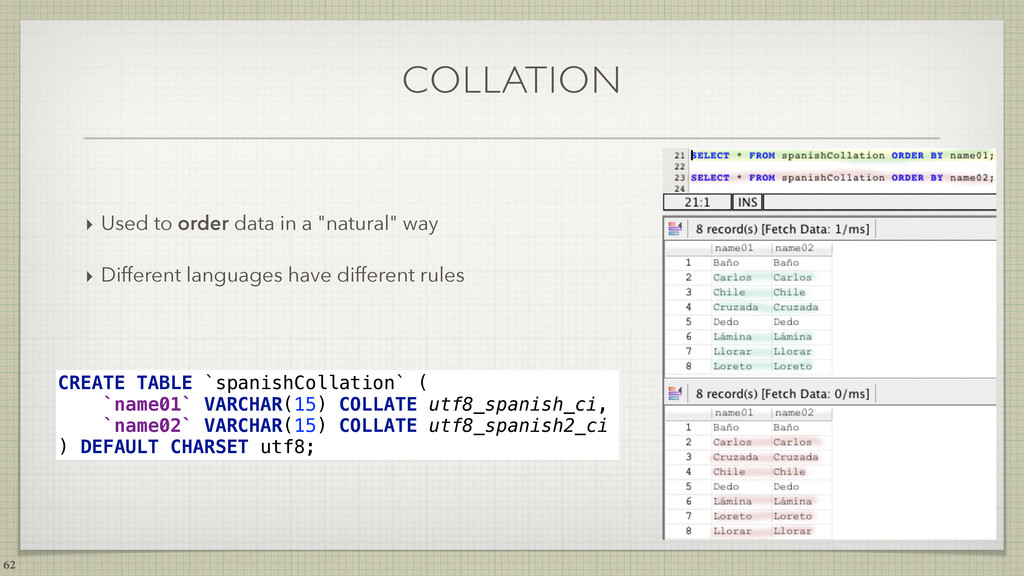 """COLLATION ‣ Used to order data in a """"natural"""" w..."""