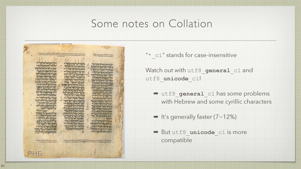 "Some notes on Collation ""*_ci"" stands for case-..."