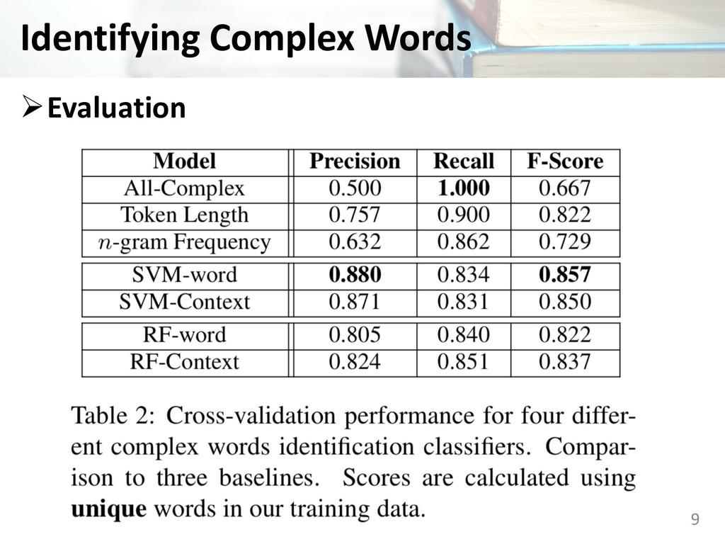 Identifying Complex Words ØEvaluation 9