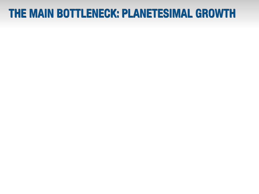 THE MAIN BOTTLENECK: PLANETESIMAL GROWTH