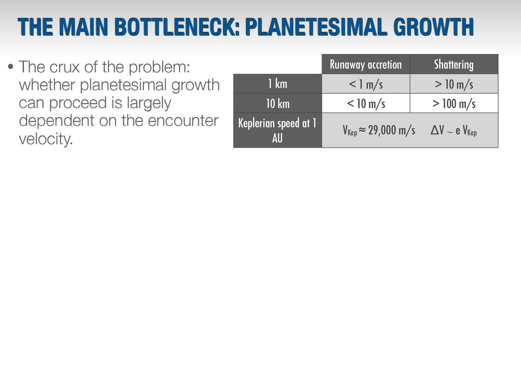THE MAIN BOTTLENECK: PLANETESIMAL GROWTH Runawa...