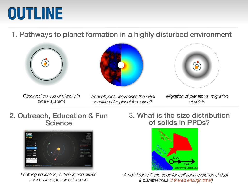 OUTLINE 1. Pathways to planet formation in a hi...