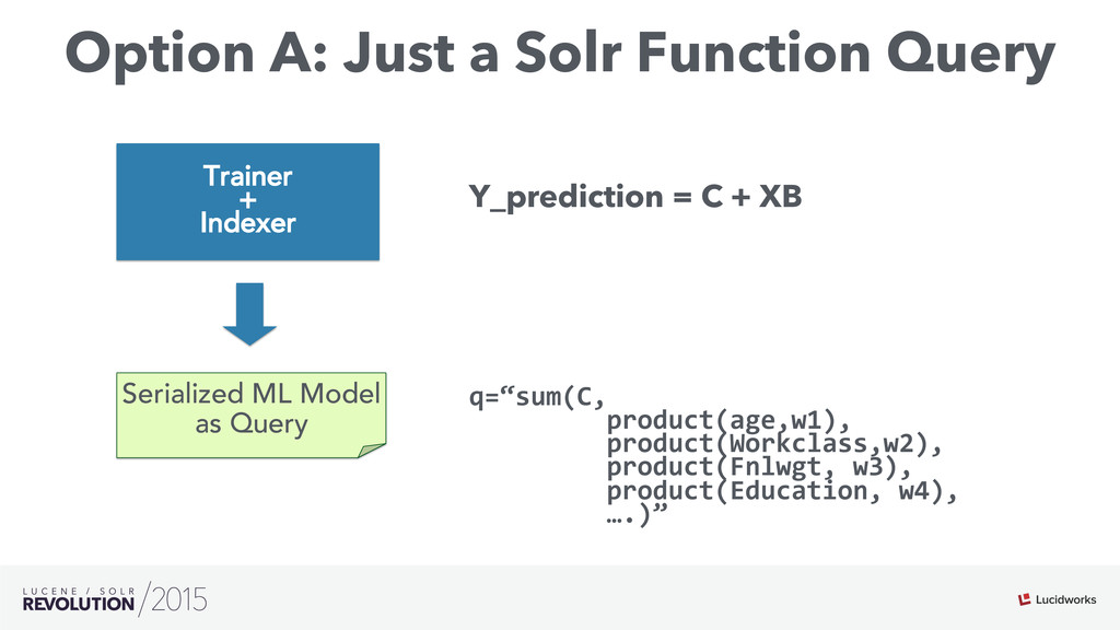 """Option A: Just a Solr Function Query q=""""sum(C,..."""