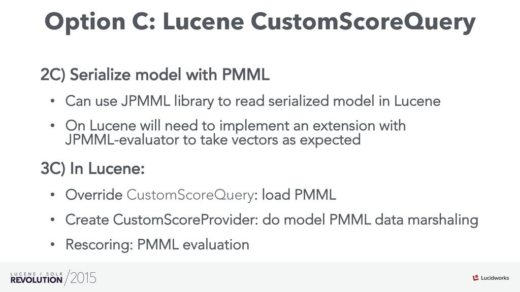 Option C: Lucene CustomScoreQuery 2C) Serialize...