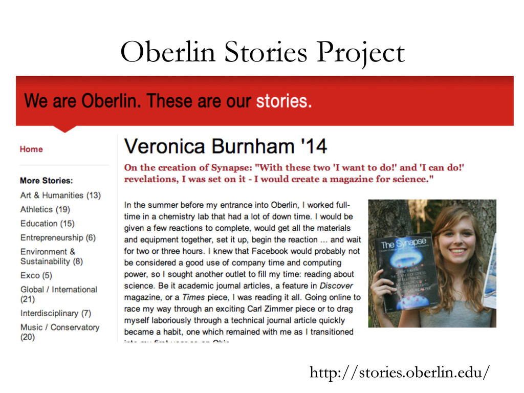 Oberlin Stories Project http://stories.oberlin....