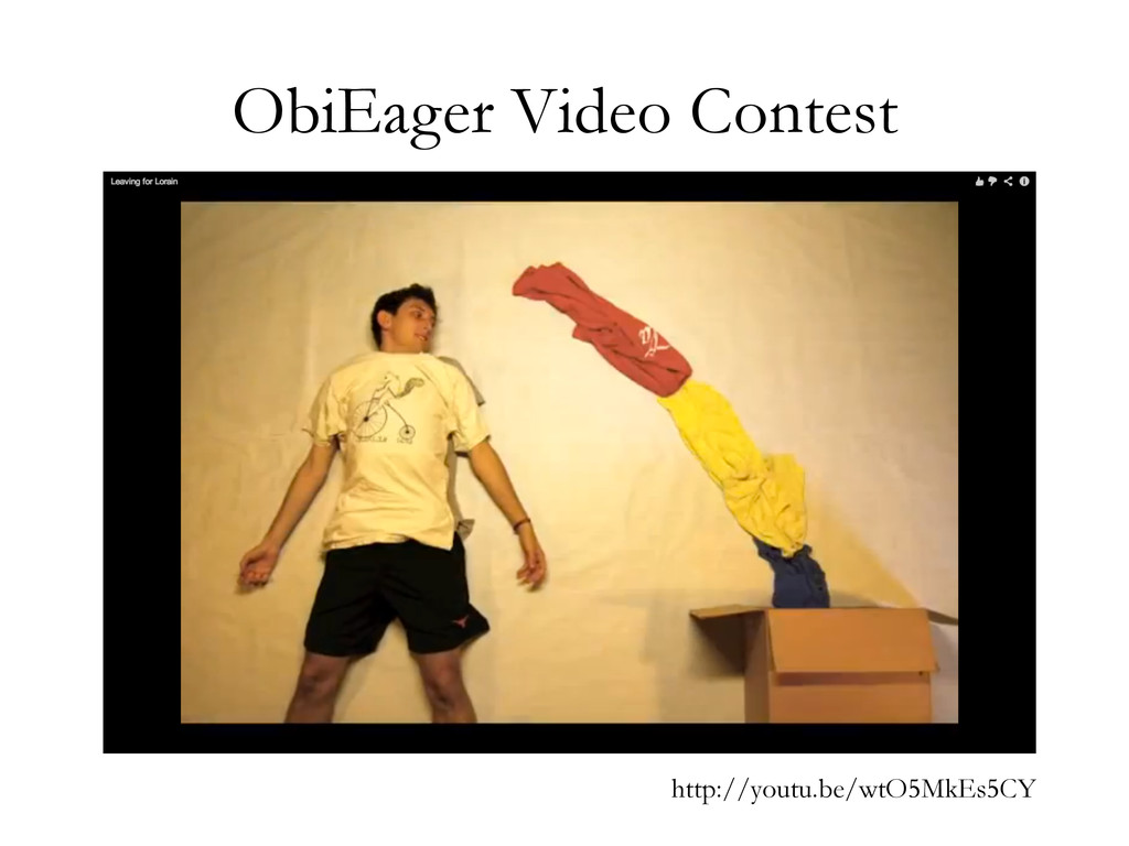 ObiEager Video Contest http://youtu.be/wtO5MkEs...