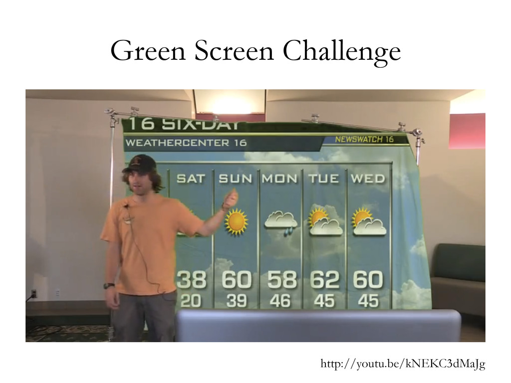 Green Screen Challenge http://youtu.be/kNEKC3dM...