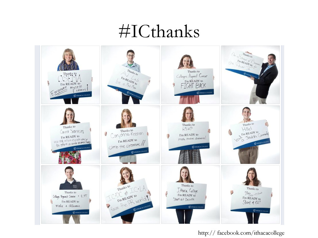 #ICthanks http:// facebook.com/ithacacollege
