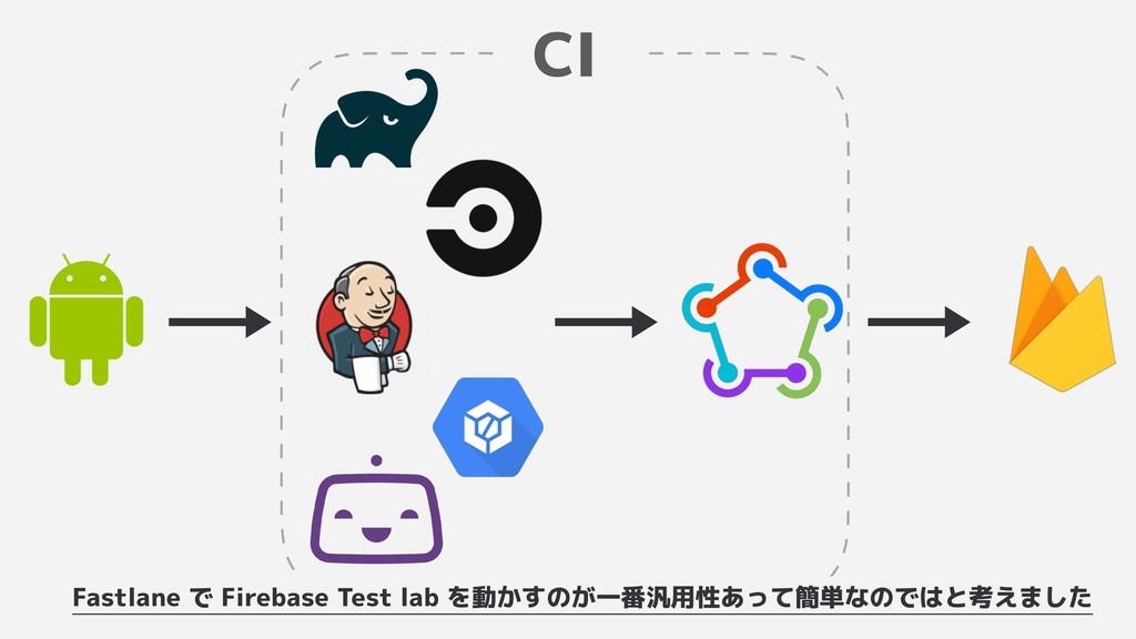 CI Fastlane で Firebase Test lab を動かすのが一番汎用性あって簡...