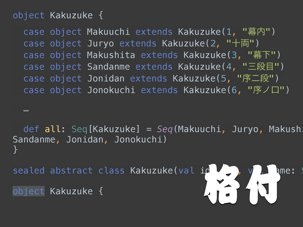 object Kakuzuke { ! ! ! ! ! ! 