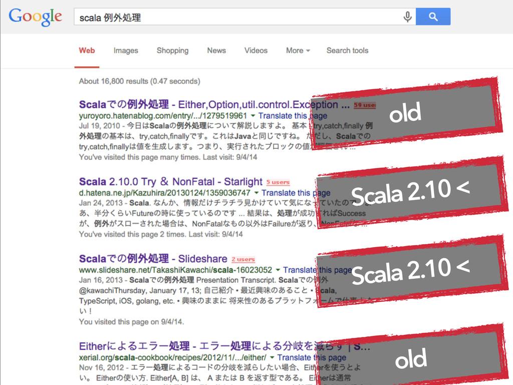 old Scala 2.10 < Scala 2.10 < old