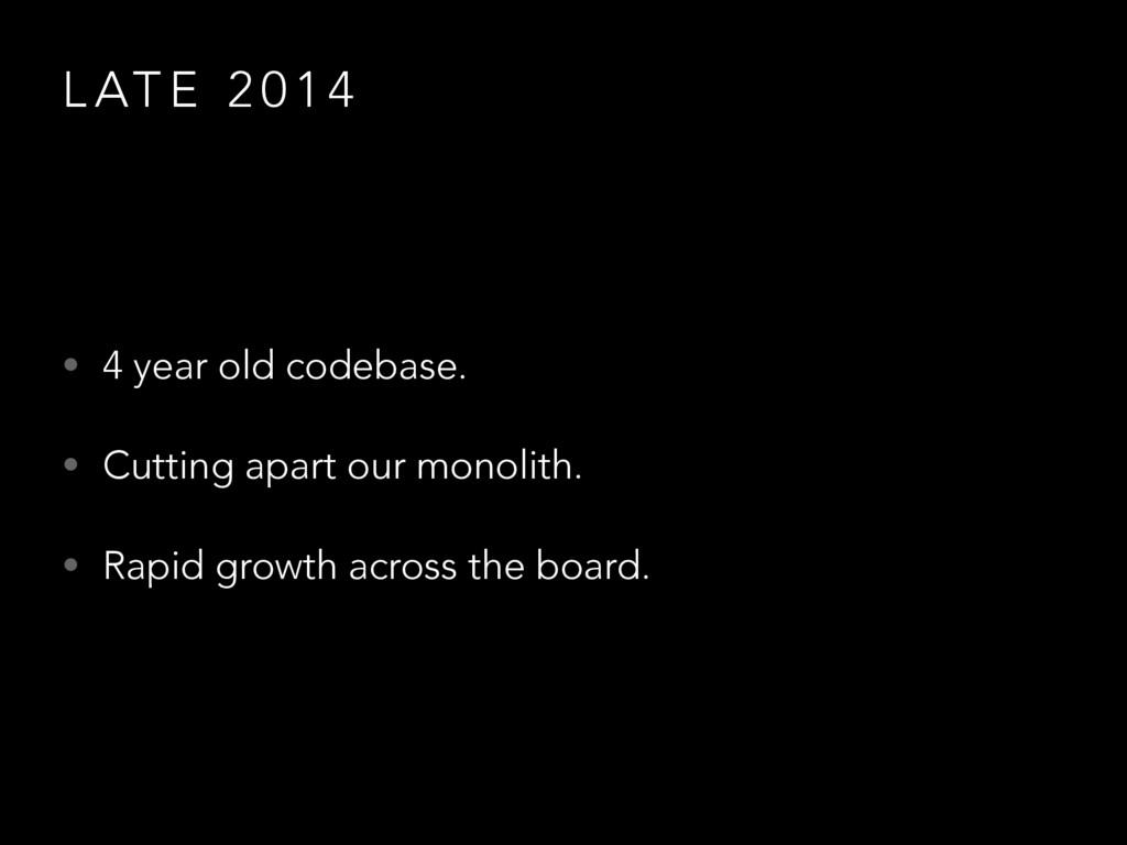L AT E 2 0 1 4 • 4 year old codebase. • Cutting...