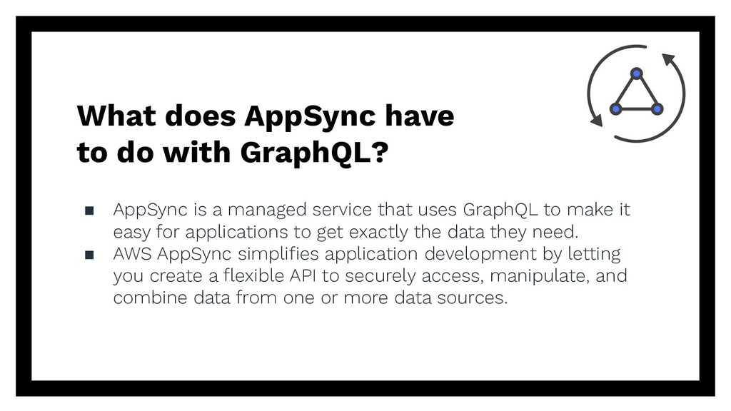 What does AppSync have to do with GraphQL? ▪ Ap...