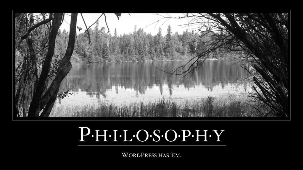 P·H·I·L·O·S·O·P·H·Y WORDPRESS HAS 'EM.