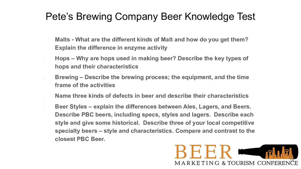 Pete's Brewing Company Beer Knowledge Test 1. M...