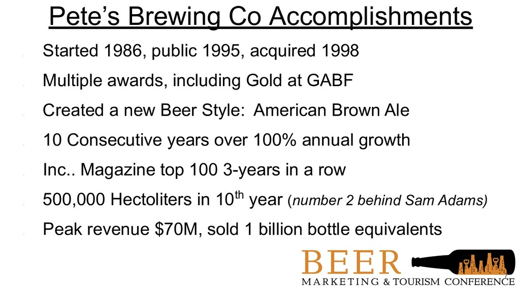Pete's Brewing Co Accomplishments • Started 198...