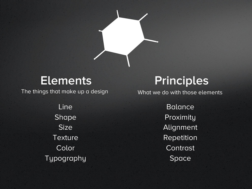 Elements Principles The things that make up a d...