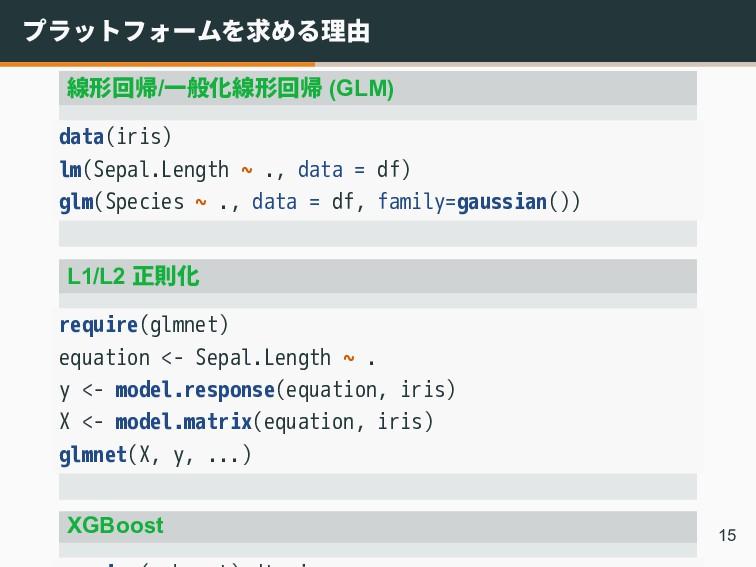 プラットフォームを求める理由 線形回帰/一般化線形回帰 (GLM) data(iris) lm...