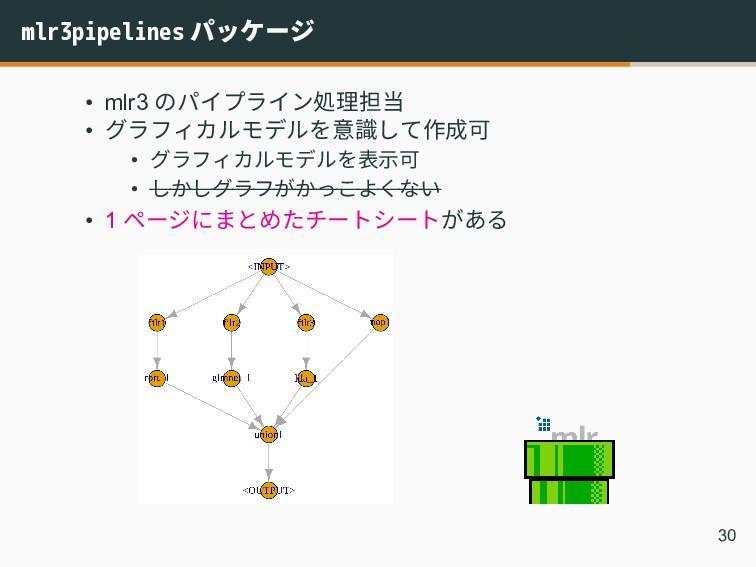 mlr3pipelines パッケージ • mlr3 のパイプライン処理担当 • グラフィカル...